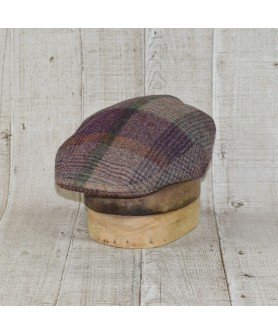 Cap Model Classic Tweed Herringbone Purple With Beige