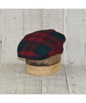 Cap Model Classic Tweed Herringbone Dark Red With Dark Green