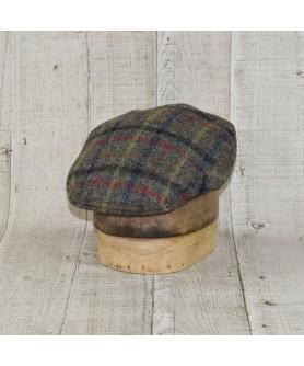 Cap Model Classic Tweed Herringbone Plaid Multicolour Kaki