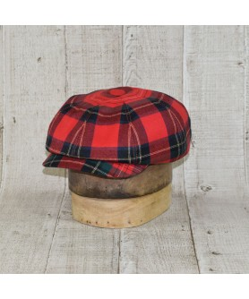 Cap Model Newsboy Model Tartan Mac Farlane Red With Dark Blue
