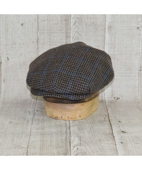 Cap Model Classic Vintage Tweed Overcheck Brown With Blue