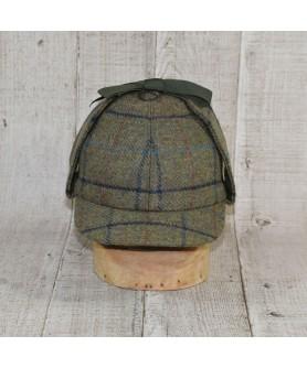 Hat Model Deerstalker (Sherlock Holmes) Khaki With Navy Blue Checkers