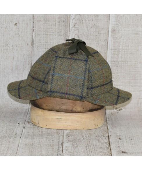 Hat Model Deerstalker (Sherlock Holmes) and Scarf Set Khaki and Navy Blue Checkers
