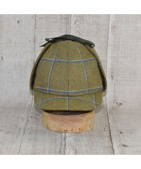 Cap Model Deerstalker (Sherlock Holmes) and Scarf Olive and Blue Checkers