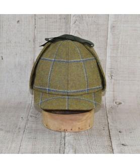 Hat Model Deerstalker (Sherlock Holmes) Olive With Blue Checkers