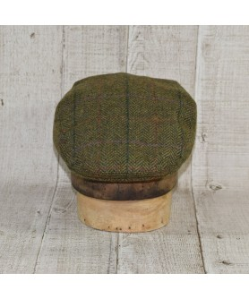 Cap Model Classic and Scarf Herringbone Green and Beige