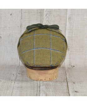 Cap Model Country Flat and Scarf Olive and Blue Checkers