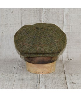 Cap Model Gavroche Peaky Blinders and Scarf Herringbone Green and Beige