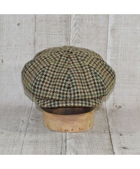 Cap Model Gavroche Peaky Blinders and Scarf Tweed Brown and Beige