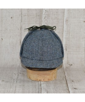 Hat Model Deerstalker (Sherlock Holmes) Slate Tweed Blue and Khaki