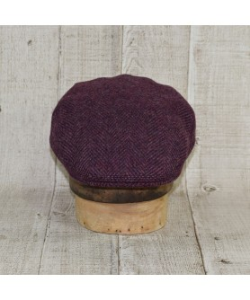Cap Model Classic With Scarf Herringbone Purple and Brown