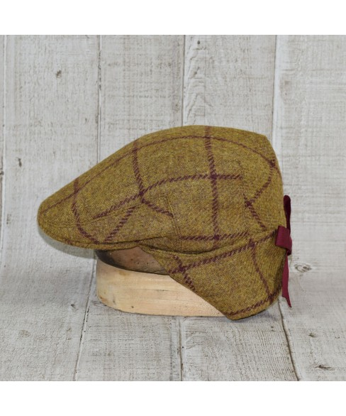 Cap Model Country Flat Mustard and Bordo Checkers