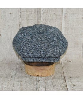 Cap Model Newsboy Peaky Blinders With Scarf Slate Tweed Blue and Khaki