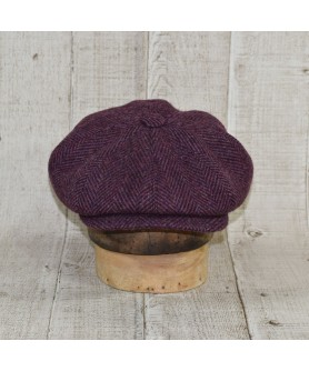 Cap Model Newsboy Peaky Blinders Herringbone Tweed Purple and Brown