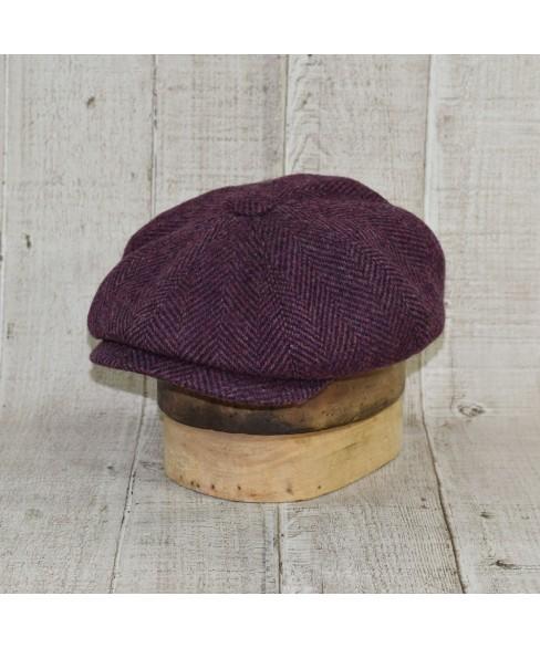 Cap Model Newsboy Peaky Blinders Herringbone Tweed Purple and Brown